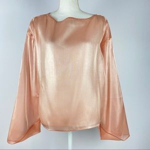 NWT Beulah Style Pink Sheer Blouse